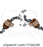 Hands Breaking Chain Links Freedom Design by AtStockIllustration