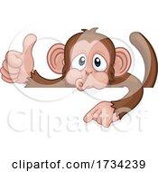 01/01/2021 - Monkey Cartoon Character Animal Pointing At Sign