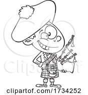 Clipart Lineart Cartoon Scottish Boy