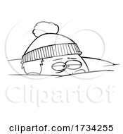 Clipart Lineart Cartoon Boy Snowed Under