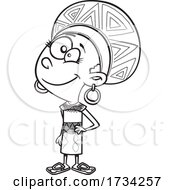 Clipart Lineart Cartoon South African Girl