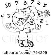 Clipart Lineart Cartoon Boy Celebrating The New Year