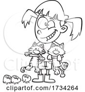 Clipart Lineart Cartoon Girl With Chicks And Cats