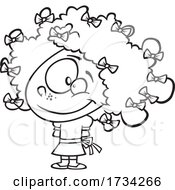 Poster, Art Print Of Clipart Outline Cartoon Girl With Bows In Her Curly Hair