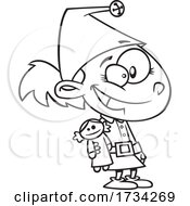 Poster, Art Print Of Clipart Outline Cartoon Elf Girl With A Doll