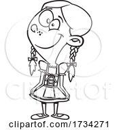 Poster, Art Print Of Clipart Outline Cartoon German Girl
