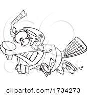 Clipart Lineart Cartoon Hockey Beaver