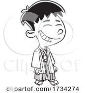 Poster, Art Print Of Clipart Outline Cartoon Japanese Boy