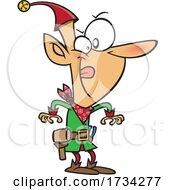 Clipart Cartoon Christmas Elf Ready To Make A Quick Draw