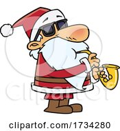 Poster, Art Print Of Clipart Cartoon Santa Playing A Saxophone