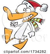 Clipart Cartoon Walking Christmas Duck