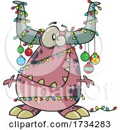 Clipart Cartoon Christmas Monster Decorated In Baubles And Lights