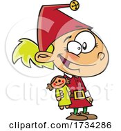 Clipart Cartoon Elf Girl With A Doll