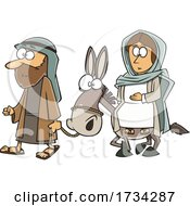 Clipart Cartoon Joseph And Mary With A Donkey