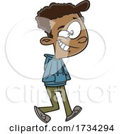 Clipart Cartoon Happy Teen Boy Walking