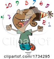 Poster, Art Print Of Clipart Cartoon Boy Celebrating The New Year