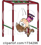 Poster, Art Print Of Clipart Cartoon Girl Falling Off Of Monkey Bars On A Playground