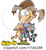 Clipart Cartoon Girl With Chicks And Cats