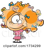 Poster, Art Print Of Clipart Cartoon Girl With Bows In Her Red Curly Hair