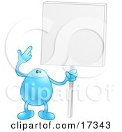 Blue Bean Character Holding And Pointing To A Blank White Advertising Sign