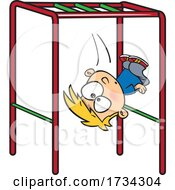 Clipart Cartoon Boy Falling Off Of Monkey Bars On A Playground
