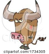 Clipart Cartoon Tough Chinese Zodiac Tattooed Ox