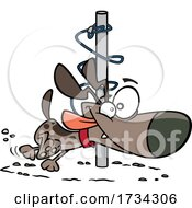 Clipart Cartoon Energetic Dog Orbiting Around A Post