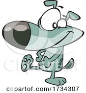 Clipart Cartoon Dog Showing An Ankle Tattoo by toonaday
