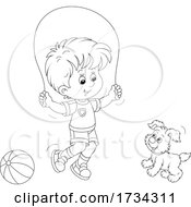Black And White Little Boy Playing With His Pup And Jump Roping