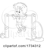 01/03/2021 - Black And White Little Boy Doing Chin Ups