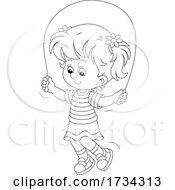 Poster, Art Print Of Outline Little Girl Using A Jump Rope