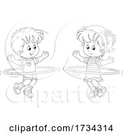 Poster, Art Print Of Outline Little Boy And Girl Exercising With Hula Hoops