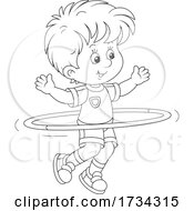01/03/2021 - Black And White Little Boy Exercising With A Hula Hoop