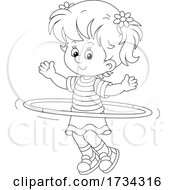 Poster, Art Print Of Outline Little Girl Exercising With A Hula Hoop