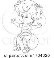 Poster, Art Print Of Outline Little Girl Sitting On An Exercise Ball
