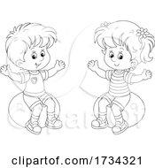 Poster, Art Print Of Outline Little Boy And Girl Sitting On Exercise Balls
