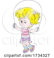 Poster, Art Print Of Little Girl Using A Jump Rope
