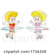 Poster, Art Print Of Little Boy And Girl Exercising With Hula Hoops