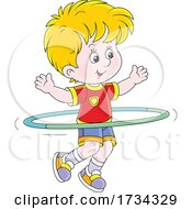 Little Boy Exercising With A Hula Hoop