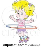 Poster, Art Print Of Little Girl Exercising With A Hula Hoop