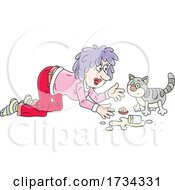 Woman Talking To A Kitty Cat After Spilling Milk