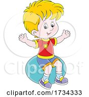 01/03/2021 - Little Boy Sitting On An Exercise Ball