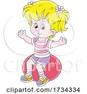 Poster, Art Print Of Little Girl Sitting On An Exercise Ball