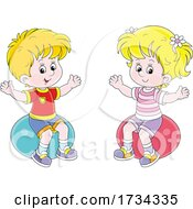 Poster, Art Print Of Little Boy And Girl Sitting On Exercise Balls