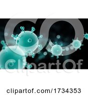3D Medical Banner With Abstract Virus Cells
