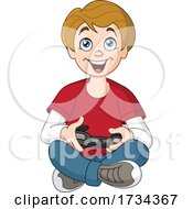 Poster, Art Print Of Cartoon Happy Boy Sitting On The Floor And Playing A Video Game