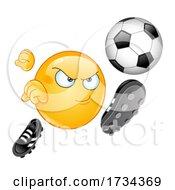 Poster, Art Print Of Cartoon Emoji Smiley Kicking A Soccer Ball