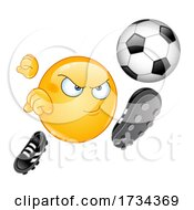 Cartoon Emoji Smiley Kicking a Soccer Ball by yayayoyo #COLLC1734369-0157