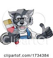 Poster, Art Print Of Wolf Painter Decorator Holding Paintbrush