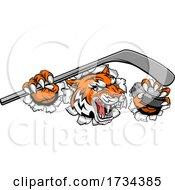 01/07/2021 - Tiger Ice Hockey Player Animal Sports Mascot